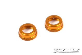 T4 ALU SHOCK CAP-NUT WITH VENT HOLE - ORANGE (2)