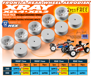 XRAY Front Wheel Aerodisk with 12mm Hex IFMAR (10) White