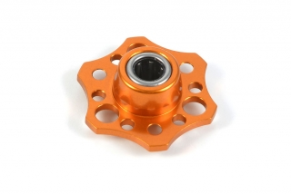 LIGHTWEIGHT DRIVE FLANGE WITH ONE-WAY BEARING - ALU 7075 T6 - ORANGE