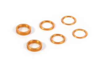 SET OF ALU SHIMS 6.37x8.4MM (0.5MM, 1.0MM, 2.0MM) - ORANGE