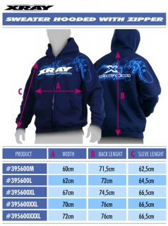 XRAY SWEATER HOODED WITH ZIPPER - BLUE (M)