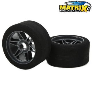 "Matrix Front 1/8 On/Road Tires on Rims ""FIVE""Carbon 32sh"