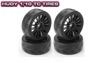 HUDY 1/10 Slick Tires Black Wheels (2+2)